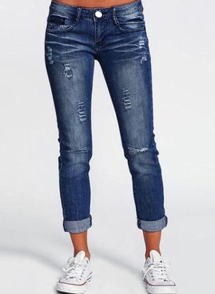Casual Skinny Knopen Zakken Middentaille Denim Jeans (1526451)