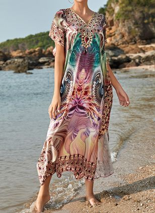 Polyester Chiffon Floral Cover-Ups Swimwear (107805682)