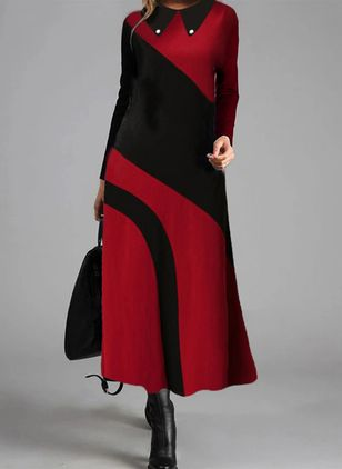 Color Block Lange mouw Maxi Jurken (111608106)