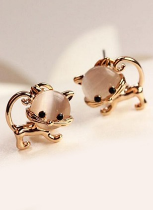Animal No Stone Stud Earrings 1 pairs