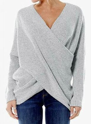 V-Neckline Solid Casual Loose Regular Shift Sweaters (6047149)