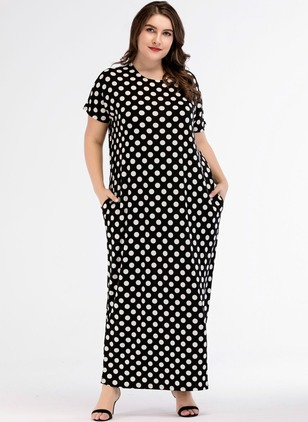 Polka Dot Pockets Short Sleeve Maxi Shift Dress