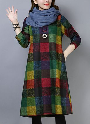 Plaid Pockets Long Sleeve Midi Shift Dress