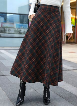 Color Block Mid-Calf Casual Pockets Skirts