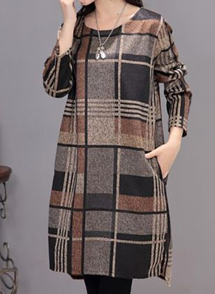 Casual Plaid Tunic Round Neckline A-line Dress (111853446)