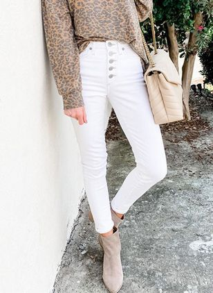 Casual Straight Buttons Pockets High Waist Polyester Pants (111109760)