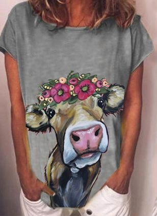 Animal Round Neck Short Sleeve Casual T-shirts (104918437)