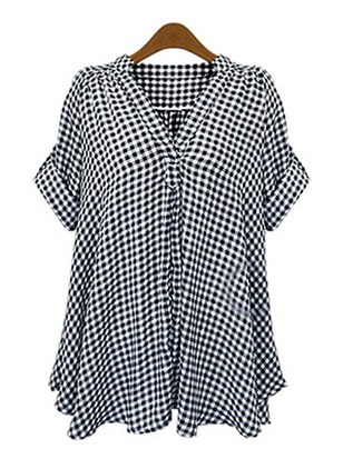Tartan Casual Cotton Linen V-Neckline Short Sleeve Blouses