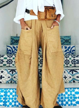 Casual Loose Pockets High Waist Polyester Pants (147225589)