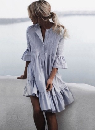 Solid Ruffles 3/4 Sleeves Knee-Length Shift Dress