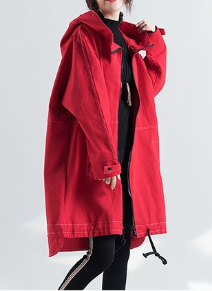 Cotton & Cotton Blend Long Sleeve Hooded Coats