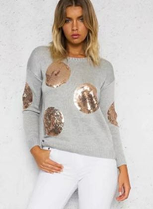 Round Neckline Solid Loose Short Sequins Shift Sweaters
