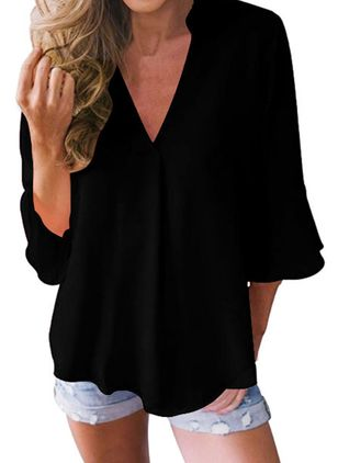 Solid Casual V-Neckline 3/4 Sleeves Blouses (1336707)