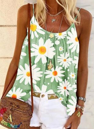 Floral Casual Camisole Neckline Sleeveless Blouses (147066563)