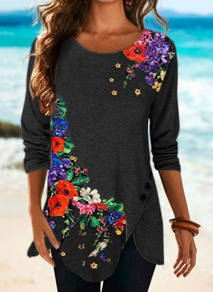 Floral Round Neck Long Sleeve Casual T-shirts (146683803)