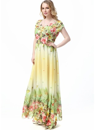 Floral Tshirt Short Sleeve Maxi A-line Dress