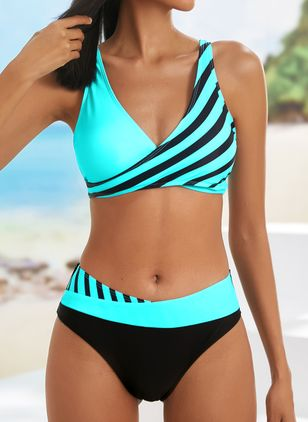 Polyester Color Block Knotted Tankinis Swimwear (146946053)