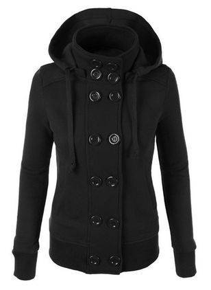 Long Sleeve Hooded Buttons Pockets Peacoats