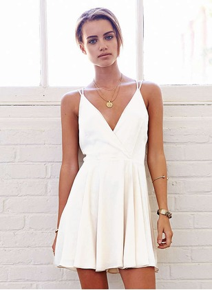 Solid Camisole Neckline Sleeveless Mini A-line Dress