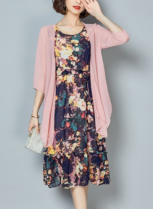Floral Wrap 3/4 Sleeves Midi Shift Dress