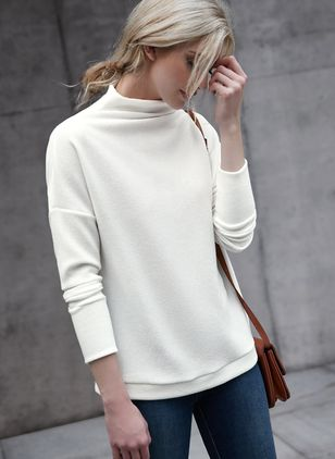 High Neckline Solid Loose Long Shift Sweaters