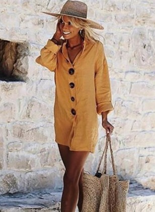 Solid Buttons Shirt Mini Shift Dress