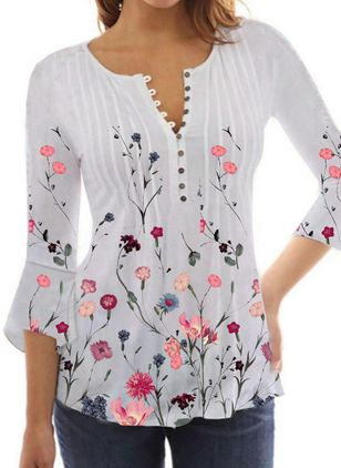 Floral Casual Round Neckline 3/4 Sleeves Blouses (147218173)