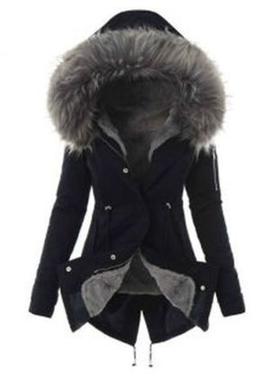 Long Sleeve Hooded Sashes Buttons Removable Fur Collar Coats