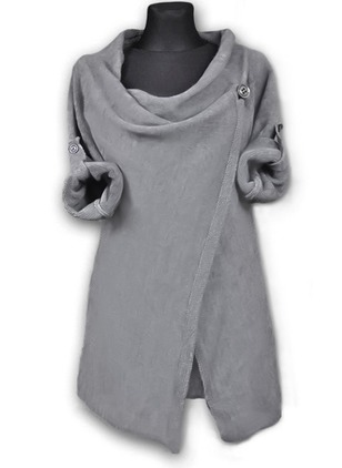 Round Neckline Solid Long Buttons Sweaters