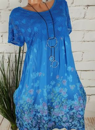 Casual Floral Tunic Round Neckline A-line Dress (1543705)