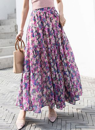 Floral Maxi Casual Skirts (4348211)