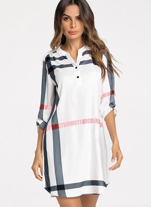 Stripe Buttons Long Sleeve Above Knee Shift Dress