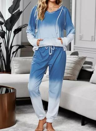 Hooded Color Block Fickor Pyjamasar (107953124)