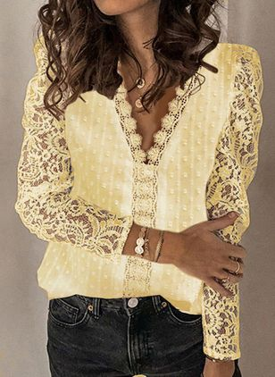 Solid Summer V-Neckline Long Sleeve Blouses (107422688)