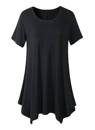Solid Cotton Round Neckline Short Sleeve Blouses