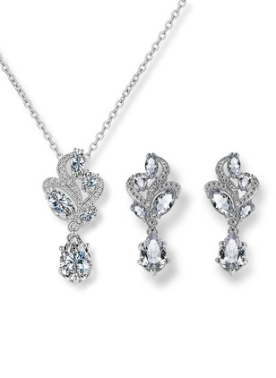 Water Drop Round Crystal Necklace Earring Jewelry Sets