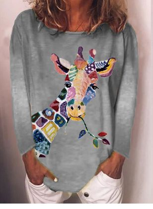 Animal Round Neck Long Sleeve Spring T-shirts (107423120)