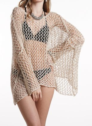 Cotton Solid Crochet Cover-Ups Swimwear (1515053)
