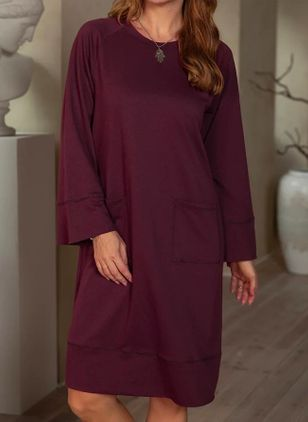 Casual Solid Tunic Round Neckline Shift Dress (111109910)