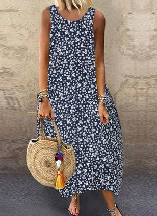 Casual Floral Tunic Round Neckline O Dress (4265248)