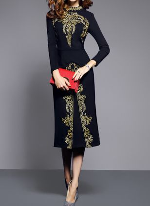 Elegant Floral Round Neckline Midi Sheath Dress (1390020)