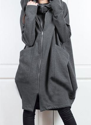 Long Sleeve Hooded Zipper Pockets Coats (120649295)