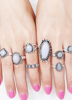 Geometric Water Drop Round Gemstone Rings 8pcs