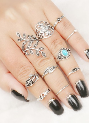 Floral No Stone Rings 10pcs