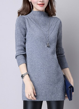 Polyester High Neckline Solid Long None Sweaters