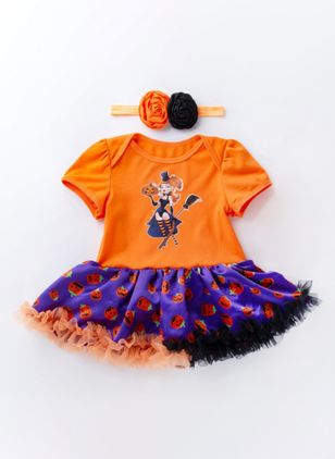 Girls' Halloween Color Block Daily Short Sleeve Clothing Sets (112236635)