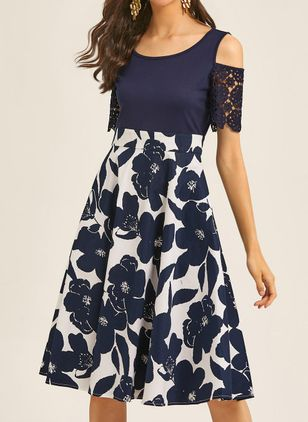 Casual Floral Pencil Round Neckline Sheath Dress (4143657)
