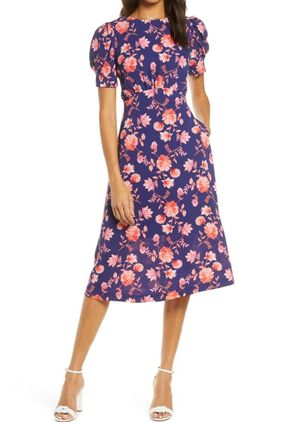Chic Floral Pockets Round Neckline A-line Dress (1514640)