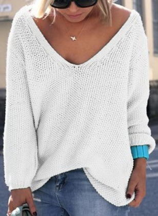 Solid V-Neckline Long Sleeve Casual T-shirts