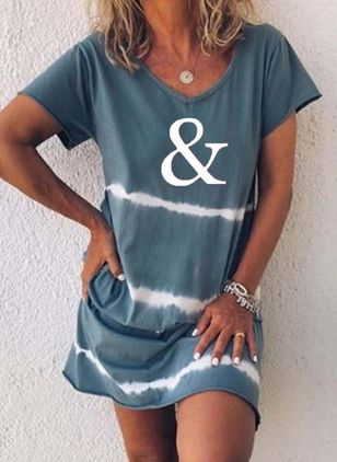 Casual Alphabet Tunic V-Neckline Shift Dress (4049201)